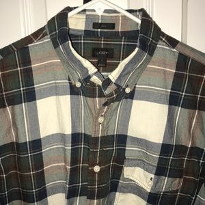 J Crew Men's Flannel Green/Red Size L Slim